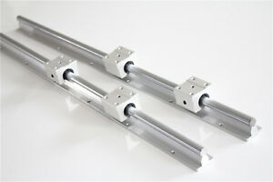 2x Sbr12 700mm Linear Rail Sliding Guide Shaft Rod With 4x Sbr12uu For Cnc Diy