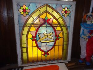 Vintage Stained Glass Window Panel Church
