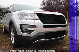 Gtg 2016 2017 Ford Explorer 2pc Gloss Black Replacement Upper Billet Grille Kit