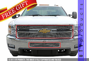 Gtg 2011 2014 Chevy Silverado 2500 3500 3pc Polished Overlay Billet Grille Kit