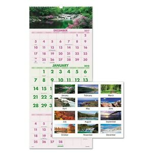 At a glance Scenic Three month Wall Calendar 12 X 27 2019