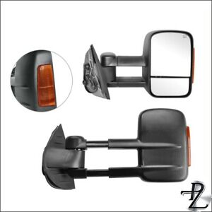 Towing Tow Mirror Set Pair For 08 14 Silverado Sierra Power Heated Amber Lamp