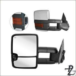 Power Heated Chrome Signal Tow Towing Mirror Pair Set For 03 07 Silverado Sierra