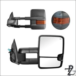 Power Heated Amber Signal Tow Towing Mirror Pair Set For 03 07 Silverado Sierra