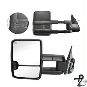 Power Heated Smoke Signal Tow Towing Mirror Pair Set For 03 07 Silverado Sierra