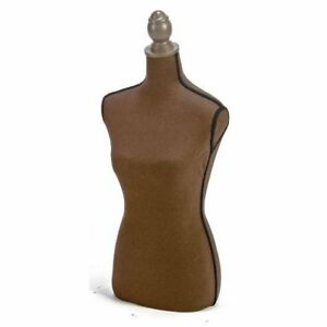 Dark Brown Linen And Foam Large Bust Form