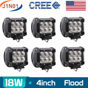 6x 4 In 18w Cree Led Work Light Bar Flood Lamp Jeep Offroad Truck 1500lm 12v24v