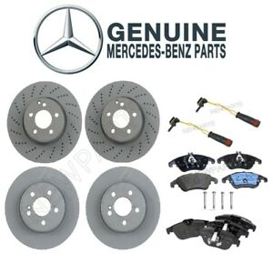 For Mercedes W204 Front Rear Vented Disc Brake Rotors And Pads Sensors Kit