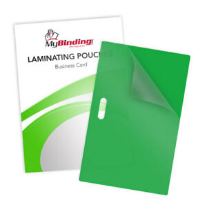10mil Green Business Card Pouches With Long Side Slot