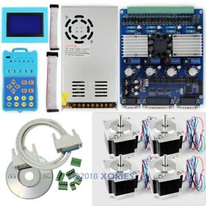 Upgraded Standard 4axis Cnc Kit Stepper Driver Keypad Display nema23 Motor psu