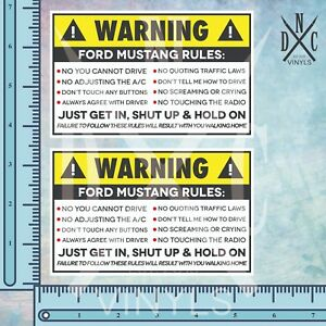 2x Ford Mustang Safety Warning Rules Sticker Decal Roush Gt 350 5 0 Ecoboost