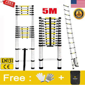 16 4ft Telescopic Multi Purpose Extension Ladder Heavy Duty Giant Aluminum En131