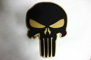 Gtg Black Gold Punisher Skull Hitch Cover Plug For Trailer Ball Receiver Towing