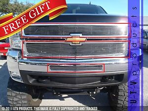 Gtg 2007 2010 Chevy Silverado 2500 3500 3pc Polished Overlay Billet Grille Kit