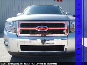 Gtg 2008 2012 Ford Escape 2pc Gloss Black Upper Overlay Billet Grille Kit