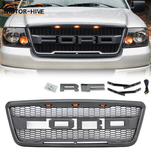 For 2004 2008 05 06 07 Ford F150 Raptor Style Front Upper Grille F r Letters led