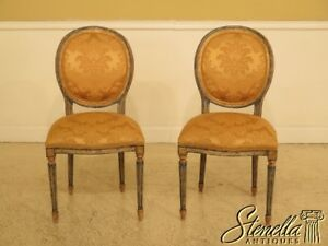 45694ec Pair French Louis Xvi Paint Decorated Side Chairs