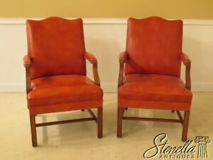 30139ec Pair Chippendale Walnut Leather Library Chairs