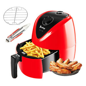 New 1500w Electric Airfryer Low Fat Timer Temperature Control Handle Carry Red