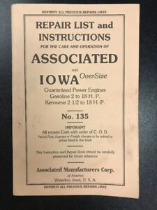 Repair List Instructions Associated Iowa Oversize Kerosene Gas Hit Miss Engine