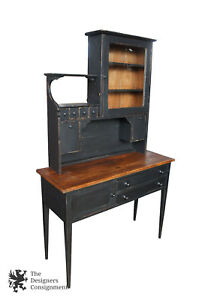 Antiqued Shaker Style Primitive Sideboard Hutch Rustic Black Cupboard Buffet