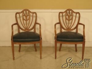 29357e Pair Vintage Blonde Mahogany Carved Back Shield Chairs W Leather Seats