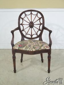 23451 Vintage Web Back Carved Mahogany Arm Chair
