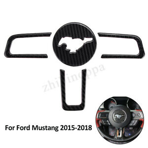 4pcs Carbon Fiber Interior Steering Wheel Cover Trim For Ford Mustang 2015 2018