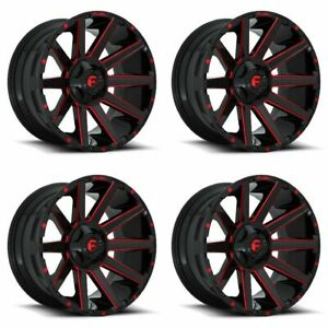 Set 4 22 Fuel Contra D643 Black Candy Red Rims 22x10 8x170 18mm Ford F250 F350