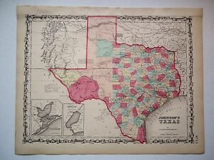 Rare Authentic Single Page 1860 Texas Map Old Antique Original Johnson Atlas