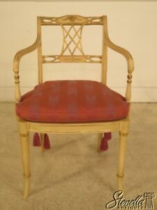 29205 Regency Paint Decorated Open Arm Occasional Chair W Cane Seat And Cushion
