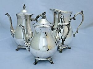 International Silver Co Coffee Tea Pots 101 Pitcher 800 Set Of 3 Silverplated