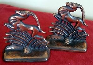 Pair Of Art Deco W H Howell Co 128 Rams Book Ends