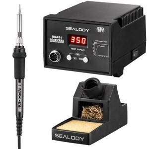 Digital Soldering Station With Pure Aluminum Stand Tip Cleaning Wire And
