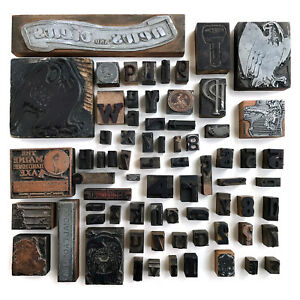 Large Lot 71 Letterpress Printing Blocks Vintage Printing Blocks