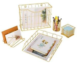 Superbpag Office 5 In 1 Desk Organizer Set Gold Letter Sorter Pencil