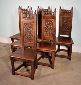 Set Of 6 Antique Gothic Revival Dining Chairs In Solid Oak W Hand Carved Detail