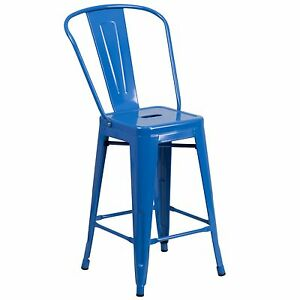 Tolix Style 24 Counter Commercial Bar Stool Metal Industrial Restaurant Blue