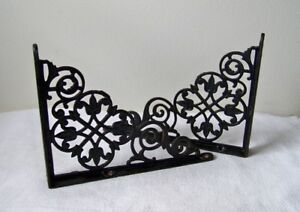 Vintage Cast Iron 8 X 6 Matching Ornate Airy Design Black Shelf Brackets