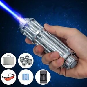 Aluminum 1 2w 445nm Blue Laser Pointer Pen Power Beam Burn Cigarette glasses Usa