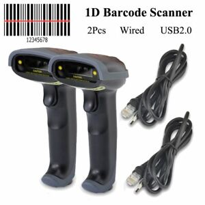 2x Portable Laser Barcode Scanner Reader Bar Code Handheld Scan Usb Wire For Pos