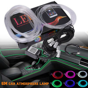 Car Dash Board Door Atmosphere Led 6m Neon Strip Light Bluetooth Phone Control Fits More Than One Vehicle