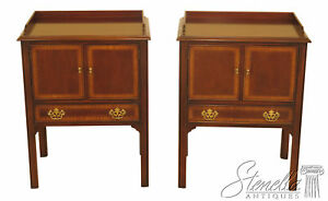 46088ec Pair Drexel Chippendale Mahogany Nightstand Commodes