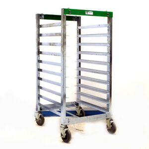 Bliss Esd Safe Mobile Welded Tray Cart Rack 10 Slots Swivel Casters And Brake