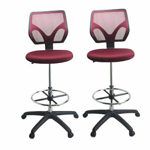 Cool Living Mesh Fixed Upright Adjustable Height Drafting Chair Red 2 Pack