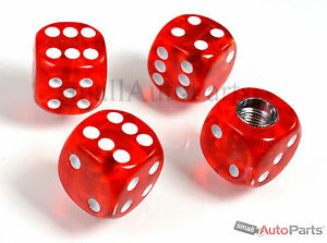 4 Clear Red Gem Dice Tire Wheel Stem Air Valve Caps Set For Car Truck Hotrod Suv