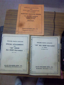 Allis chalmers 60a All Crop Harvester Repair Part Manual catalog 1959 lot engine