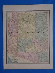 Vintage 1887 Arizona Territory Map Old Antique Original Atlas Map 101818