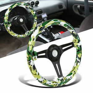 Universal 350mm Wooden Bdu Style Camouflage Green Steering Wheel Black Spoke