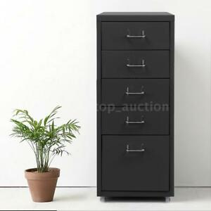 Grey 5 Drawer Metal Mobile File Cabinet Home Filing Office W 4 Casters X6i0